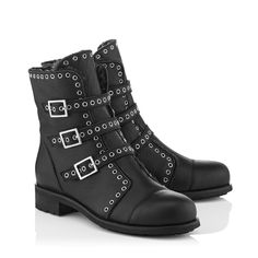 DARKLE FLAT; Black Grainy Leather Biker Boots with Shearling Lining | JIMMY CHOO
