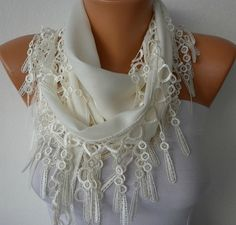 Off White Scarf    Pashmina Scarf   Headband Necklace by fatwoman, $13.50