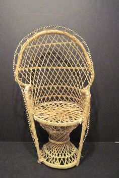 16 inch Tall Wicker Doll Chair Throne