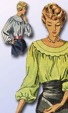 1940s Vintage Simplicity Sewing Pattern 2784 Uncut Misses Blouse Size 18 36B