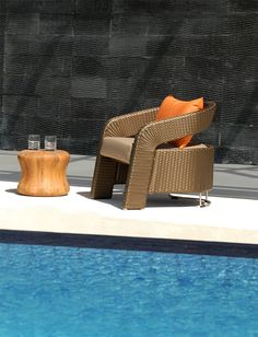 Lebello M Teak Stool - M Teak stool is a modern contemporary stool or side table that is hand spun from blocks of FSC certified teak wood. Wicker Patio Chairs, Low Stool, Outdoor Living, Outdoor Decor, Teak Wood, Modern Contemporary, Living Spaces, Modern Patio, Table