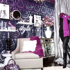 pink black wall to wall closet ideas - Google Search