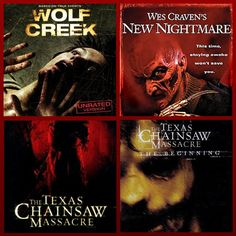 5 Horror DVDs! Wolf Creek, Texas Chainsaw Massacre The Beginning, The Texas Chainsaw Massacre, Platinum Series and Wes Craven's New Nightmare. For sale at MoreThanHorror.com