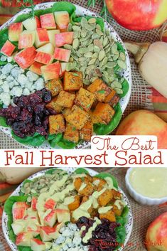 Fall Harvest Salad with apples and butternut squash topped with apple cider vinaigrette dressing . Healthy and easy for dinner but also great for Thanksgiving. / Running in a Skirt #healthy #fall #salad #thanksgiving #butternutsquash #apple Easy Salads, Healthy Salad Recipes, Lunch Recipes, Vegetarian Recipes, Dinner Recipes, Harvest Salad, How To Make Salad, Healthy Meal Prep, Lunches And Dinners