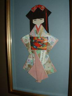 collage art japan | Vintage Framed Japan Paper Art Japanese Girl Unique Collage Shadowbox ...