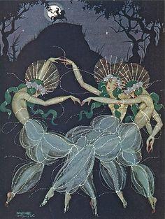 Three dancers Art Deco Illustration