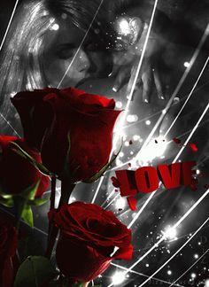 Imagenes Gif de Parejas En Blanco Y Negro Con Rosas Rojas Para Enviar En San Valentín