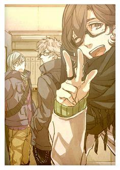 Tags: Anime, V Gesture, Hand In Pocket, Uta no☆prince-sama♪, Noyu, Kotobuki Reiji, Mikaze Ai