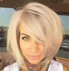 37 Cute Medium Haircuts to Fuel Your Imagination Layered Blonde Bob With Side Bangs Cute Medium Haircuts, Layered Bob Haircuts, Cute Haircuts, Haircuts For Fine Hair, Bob Hairstyles, Wedding Hairstyles, Homecoming Hairstyles, Party Hairstyles, Layered Bobs