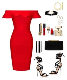 """""""Red"""" by aniaytheone on Polyvore featuring mode, Posh Girl, Gianvito Rossi, Jimmy Choo, Gucci, Yves Saint Laurent, Maybelline, Anissa Kermiche et Ross-Simons"""