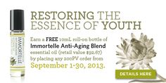Essence of youth - FREE this month with a 200PV order!   http://mydoterra.com/totallyessentialoils
