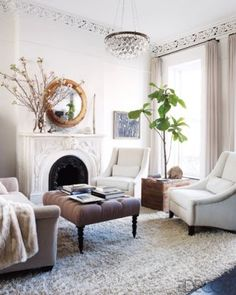 """The full tour of Keri Russell's Brooklyn home (we're neighbors, it amuses me) is nice but maybe too neutral, even for me. Elle Decor: Keri Russell At Home """" Home Living Room, Living Room Decor, Living Spaces, Small Living, Cozy Living, Living Room Inspiration, Home Decor Inspiration, Design Inspiration, Brooklyn Brownstone"""