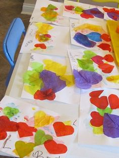 Making tissue paper heart collages in preschool