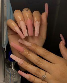 Bling Acrylic Nails, Acrylic Nails Coffin Short, Simple Acrylic Nails, Drip Nails, Best Acrylic Nails, Coffin Ombre Nails, Baby Pink Nails Acrylic, Pink Acrylic Nail Designs, Ballerina Acrylic Nails