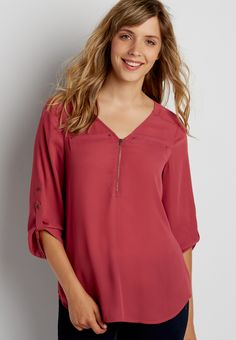 the perfect blouse with zipper neckline (original price, $32.00) available at #Maurices