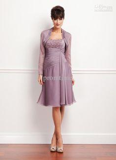 d43ddef59fb Strapless Light Purple Chiffon Knee-length Mother of the Bride Dress   Bolero  with Long Sleeve M242