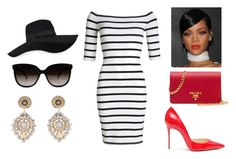 elegant evening look by kaja-232 on Polyvore featuring polyvore moda style Superdry Christian Louboutin Prada Miguel Ases San Diego Hat Co. fashion clothing white black sweet redlips dres