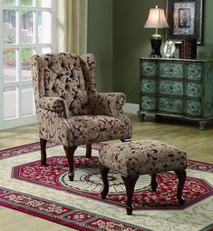 Create a sophisticated traditional style in your living room or family room with this elegant chair and ottoman combo. Ottoman: 24 in. Chair Type Chair with Ottoman. Living Room Chairs, Living Room Furniture, Home Furniture, Furniture Outlet, Online Furniture, Furniture Stores, Dining Chairs, Ottoman Furniture, Furniture Factory