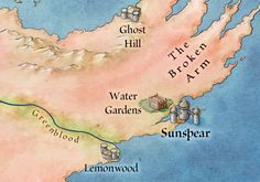 Dorne from the map of Westeros – winter is coming Game Of Thrones Map, Game Of Thrones Houses, Game Of Thrones Illustrations, Westeros Map, Got Map, Imaginary Maps, Fantasy Map, Valar Morghulis, Writing Resources