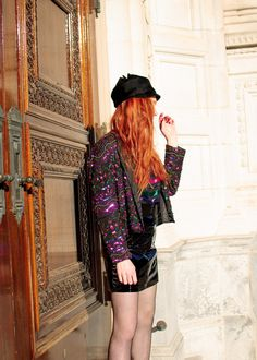 The Red Hand Sequins + Faux Patent Leather - Vintage jacket, custom skirt