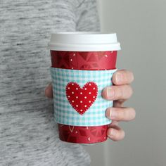 I Heart Coffee Cozy Tutorial with Printable   AllFreeHolidayCrafts.com