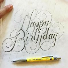 Happy birthday hand lettering - typography and handlettering Calligraphy Handwriting, Calligraphy Letters, Modern Calligraphy, Penmanship, Happy Birthday Hand Lettering, Happy Birthday Caligraphy, Handlettering Happy Birthday, Happy Birthday Font, Happy Birthday Massage