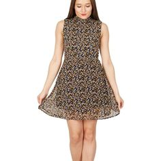 Black small leaf print high neck dress
