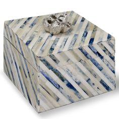 """$137 6""""W x 6""""L x 6""""H Regina Andrew Decor Indigo Strip Small Box @LaylaGrayce"""