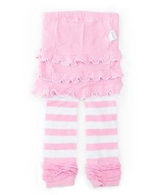 Take a look at this Pink Stripe Skirted Leggings - Girls by SKEANIE on #zulily today!#fall