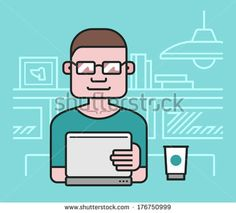 Man Working At The Laptop. Vector Illustration Of A Man Dressed In A T-Shirt, Working In A Studio With A Cup Of Coffee Near Him And Looking At The Laptop Monitor - 176750999 : Shutterstock