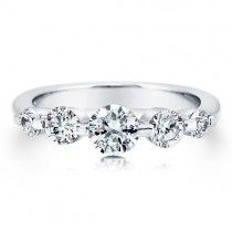 Sterling Silver 925 Round Prong-Set Cubic Zirconia CZ 5-Stone Ring