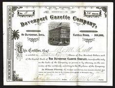Davenport Gazette Issued Shares. 1882.
