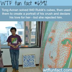 Chinese man creates a portrait of his crush using Rubik's cube - WTF fun facts