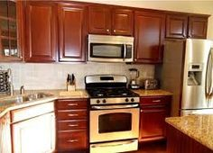 Brown Painted Kitchen Cabinets With White Appliances Google Search