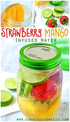 Strawberry Mango Infused Water - delicious and ripe mango with sweet strawberries and a hint of citrus to break the fruit down in this tasty flavored water recipe.