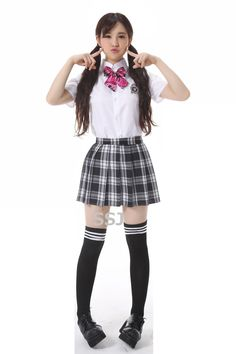 "SSJ Japanese Girls Gray Uniform Plaid [Ribbon Red] Cosplay Costume Pretty Halloween. [Theme] Japanese school girls uniform cosplay costume. [Size] one size fits all / height: up to 5ft5in (166 cm), B: 30-35 inches (76.20-88.90 cm), W: 23-28 inches (58.42-71.12 cm), H: 34-37 inches (86.36-93.98 cm). [Material] Polyester. The owner of ""Smart Shop JP"" shop is a native Japanese, and our products are stored in Amazon Official Warehouses in USA, so you will get our products as soon as possible..."