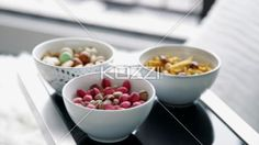 dry food on table. - Video of dry food on glass table.