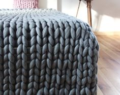 Chunky Knit blanket Chunky wool blanket Knitted by PANAPUFA