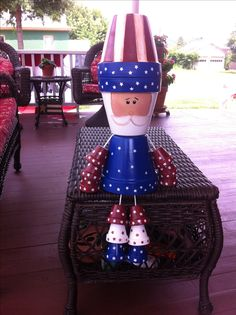 Uncle Sam made from clay pots and painted