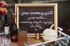 An Elegant DIY Party Drinkcape ..What your Serving in a chalkboard Frame,.Great idea!