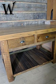 Created from rustic, reclaimed oakwood, Whatman Hardwoods custom furniture will undoubtedly bring a trendy, but classic look to your home. Rustic Kitchen Island, Oak Island, Whitewash Wood, Custom Made Furniture, Reclaimed Barn Wood, Types Of Wood, Cabinet Doors, Solid Oak, Wood Projects
