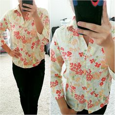⚡Eddie Bauer Floral Button Down Shirt ⏩A classic button down shirt from Eddie Bauer with a twist of textured fabric. ⏩So feminine and elegant. ⏩Point collar with button front. ⏩3/4 sleeves with button cuffs. ⏩Rounded shirttail hemline. ⏩100% cotton, so comfortable! ⏩Bought this in its store, only worn 2 times. ⏩Relaxed fit, perfect for XS and S. Eddie Bauer Tops Button Down Shirts