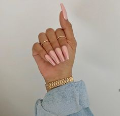 """If you're unfamiliar with nail trends and you hear the words """"coffin nails,"""" what comes to mind? It's not nails with coffins drawn on them. It's long nails with a square tip, and the look has. Pink Nails, Gel Nails, Nail Polish, Coffin Nails, Pink Chrome Nails, Matte White Nails, Salon Nails, Neutral Nails, Yellow Nails"""