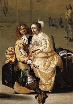 A Guardroom Interior by Jacob Duck in   1630.  This is a picture from the Cavalier period.  The man is wearing funnel boots and a longdoublet.  He also has ribbon on his leg right below his knee which was very popular for the time period.  The women has slashes on her sleeves.  She is also wearing caracoa la polonaise over her dress.  Her dress is very full and looks like she is wearing a farthingale.  They both have long hair which was popular at the time.