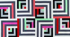 Modern Log Cabin Quilt Block Designs - The Quilting Company Quilting Projects, Quilting Designs, Traditional Quilt Patterns, Modern Log Cabins, Dresden Plate Quilts, The Quilt Show, Log Cabin Quilts, Card Patterns, Pattern Blocks