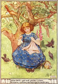 M.D. Spooner - A fair little girl sat under a tree.  Sewing as long as her eyes could see.