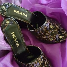 Asian inspired Prada Mules Beautiful flowering tapestry surrounding the entire shoe seeking Cinderella as only a Prada shoe can. Prada Shoes Mules & Clogs