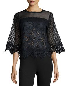 ANDREW GN Cotton Eyelet Zigzag Top Black $1750 (Compare elsewhere at $1825) - - - WE ARE LOCATED AT *THE TRUMP BUILDING* ON WALL ST. IN NYC - ORDER PICK UP OR FREE DELIVERY WORLDWIDE - - - SHOP OUR OFFICIAL WEBSITE: annesOFnewyork.com