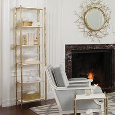 Shop for Global Views Arbor Etagere-Brass/White Marble, and other Living Room Etageres at Goods Home Furnishings in North Carolina. Gold Furniture, Modern Furniture, Furniture Hardware, Painting Furniture, Furniture Stores, Luxury Furniture, Bungalow, Marble Shelf, Goods Home Furnishings