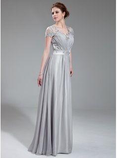 Corte A / Princesa Escote en V Vestido Gasa Charmeuse Vestido de noche Con Encaje Bordado Volantes (017019722) - JJsHouse
